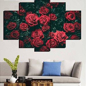 Painel Mosaico 5 Partes Rosas Vermelhas