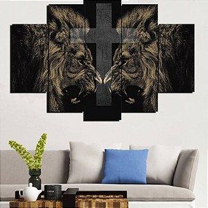 Painel Mosaico 5 Partes Leão E Cruz