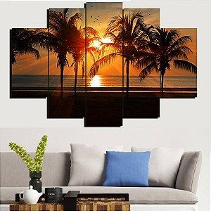 Painel Mosaico 5 Partes Paisagem Praia Ao Por Do Sol