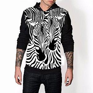 Blusa De Frio Zebra Estampa Full Moletom Unissex