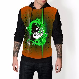Blusa De Frio Equilibrio Ying Yang Dragão Verde Estampa Full Moletom Unissex