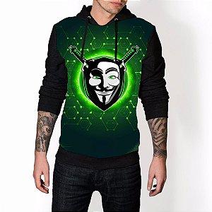 Blusa De Frio V de Vingança Anonymous Máscara Estampa Full Moletom Unissex