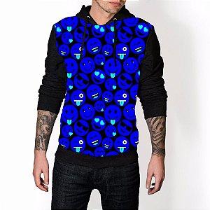 Blusa De Frio Emoji Azul Neon Emoticons Carinhas Estampa Full Moletom Unissex
