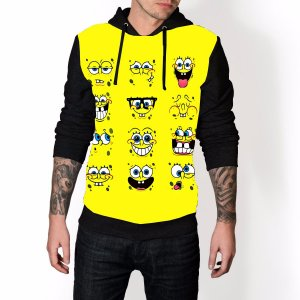 Blusa De Frio Bob Esponja Amarelo Estampa Full Moletom Unissex