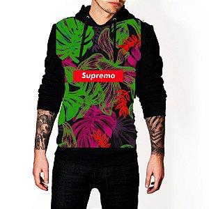 Blusa De Frio Supremo Folhas Neon Verde Rose Estampa Full Moletom Unissex