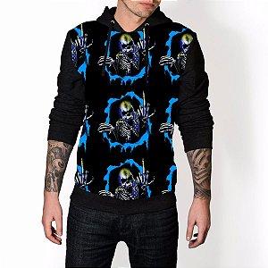 Blusa De Frio Caveira Dedo Azul Skull Estampa Full Moletom Unissex