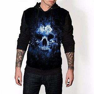 Blusa De Frio Caveira Skull Azul Estampa Full Moletom Unissex