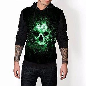 Blusa De Frio Caveira Skull Verde Estampa Full Moletom Unissex