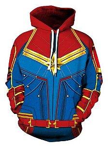 Blusa De Frio Moletom Full Estampado Capitã Marvel