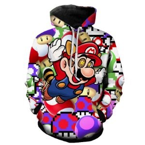 Blusa De Frio Moletom Full Estampado Super Mario