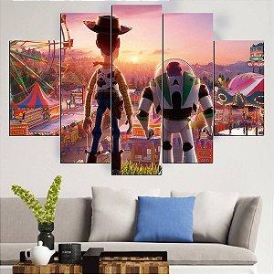 Painel Quadro Mosaico 5 Partes Toy Story    - 100 cm x 68 cm