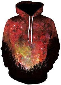 Blusa De Frio Moletom Full Print Estampado Paisagem Galaxia