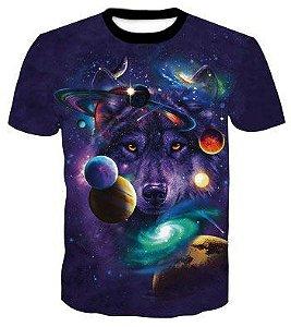 Camiseta Camisa Estampa Psicodélica Lobo