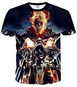 Camiseta Camisa Caveira Fogo