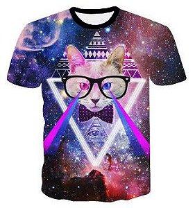 Camiseta Camisa Gato Psicodélico