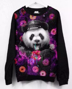 Moletom Full Panda Tumblr Donuts Galaxia Cop Unissex