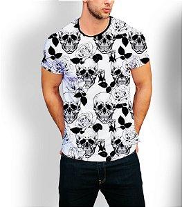 Camiseta Camisa Longline Estampa Caveira