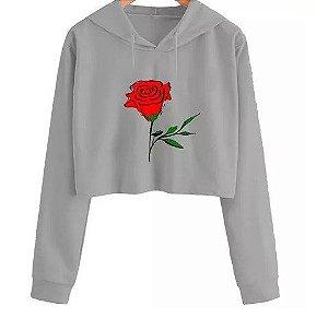 Blusa Moletom Cropped Rosa