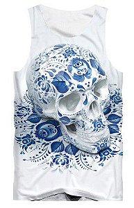 Camiseta Bsc Regata Full Print Caveira Azul