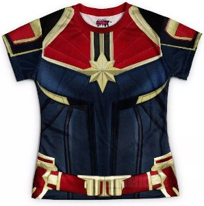 Camiseta Baby Look Feminina Capitã Marvel Traje