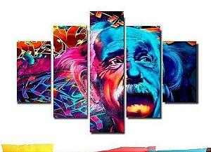 Painel Mosaico 5 Partes Albert Einstein