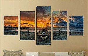 Painel Mosaico 5 Partes Por do Sol Praia