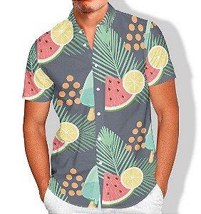Camisa Social Lançamento Masculina Full Estampada