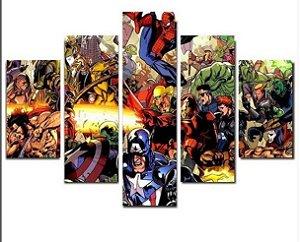 Painel Mosaico 5 partes Herois Marvel