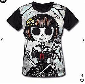Camisa Camiseta Baby Look Estampa Full Caveira Mexicana