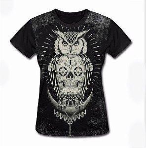 Camisa Camiseta Baby Look Estampa Full Caveira Coruja