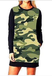 Vestido Feminino Moletom Camuflado