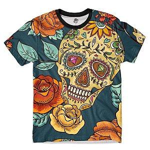 Camiseta Camisa Full Estampada Masculin Caveira Mexicana