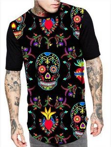 Camiseta Camisa Longline Estampa Full Caveira Mexicana Colorida