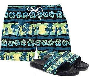 Chinelo Slide + Short Bermuda Praia Floral Surf Verde Havai