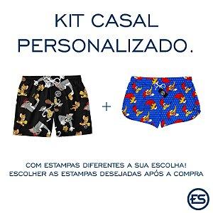 Kit Casal Short Bermuda Moda Praia - Personalizado