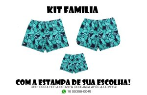 Kit Familia Short Bermuda Ney Moda Praia