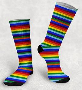 Meia Cano Alto - LGBT - Sublimada Alta Definição Crossfit Academia