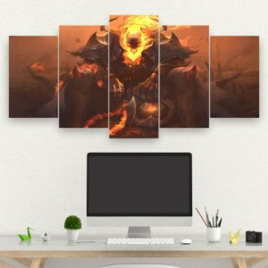 Painel Mosaico 5 partes -Jogos GAMER LEAGUE OF LEGENDS HIGH NOON THRESH