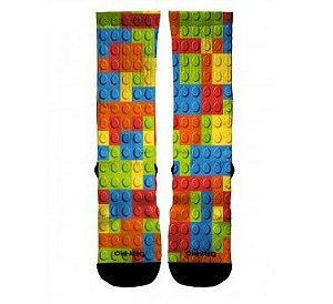 Meia Cano Alto Desenho LEGO Sublimada Alta Definição Crossfit Academia