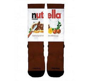 Meia Cano Alto ENGRAÇADAS Nutella Chocolate Sublimada Alta Definição Crossfit Academia