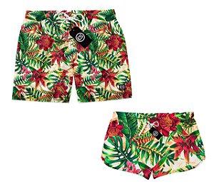 Kit Casal Short Bermuda Moda Praia Floral ES 01