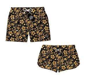 Kit Casal Short Bermuda Moda Praia Floral Dourado ES 03