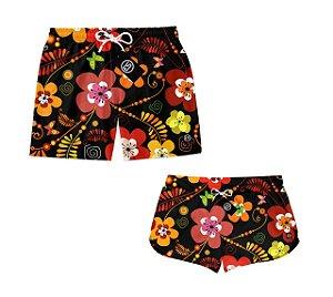 Kit Casal Short Bermuda Moda Praia Floral Flores ES 02