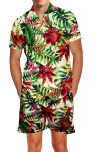 Kit Camisa Social + Short Praia Verão Floral Carnaval