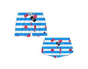 Kit Casal Short Bermuda Moda Praia Melancia Marinho