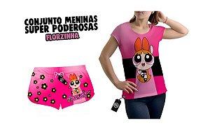 Kit Short Moda Praia + Camiseta Estampa Full Feminino Meninas Super Poderosas Florzinha