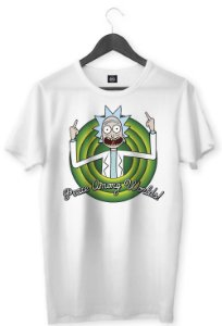 CAMISETA RICK AND MORTY PAZ ENTRE OS MUNDOS