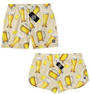 Kit Casal Short Bermuda Moda Praia - Cerveja/Chopp