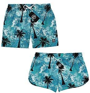 Kit Casal Short Bermuda Moda Praia - Paisagem - Palmeiras