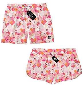 Kit Casal Short Bermuda Moda Praia - Flamingos